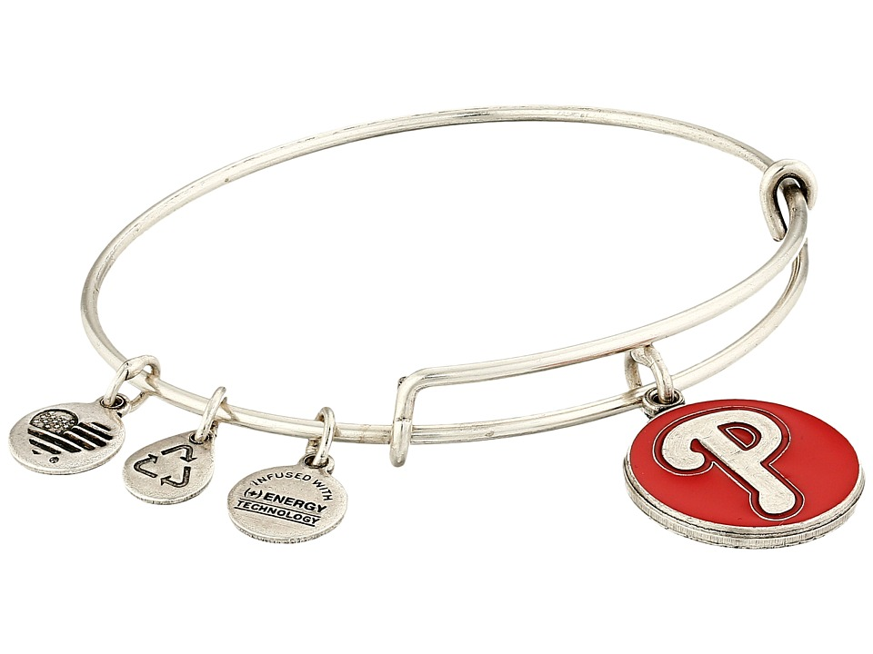 Alex and Ani - MLB Philadelphia Phillies Charm Bangle (Rafaelian Silver Finish/Red Charm) Bracelet
