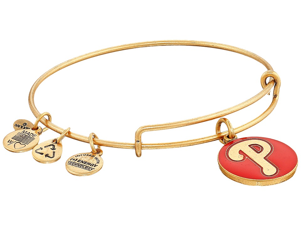 Alex and Ani - MLB Philadelphia Phillies Charm Bangle (Rafaelian Gold Finish/Red Charm) Bracelet