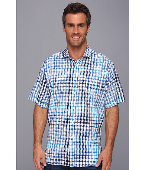 Thomas Dean & Co. - Blue Satin Plaid S/S Button Down Shirt w/ Chest Pocket (Blue) Men's Clothing
