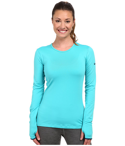 Nike - Pro Hyperwarm Crew 3.0 (Dusty Cactus/Space Blue/Space Blue) Women's Long Sleeve Pullover