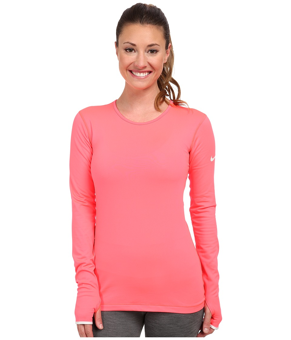 Nike - Pro Hyperwarm Crew 3.0 (Hyper Punch/Light Ash Grey/Light Ash Grey) Women's Long Sleeve Pullover