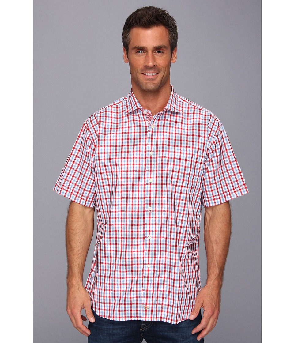 Thomas Dean & Co. - Red Jacquard Plaid S/S Button Down Shirt (Red) Men's Clothing