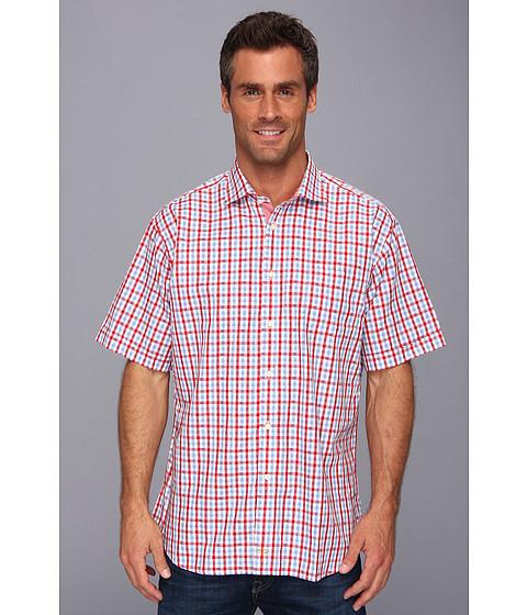 Thomas Dean & Co. - Red Jacquard Plaid S/S Button Down Shirt (Red) Men