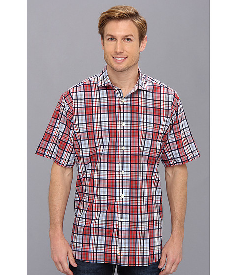 Thomas Dean & Co. - Red Plaid S/S Button Down Shirt w/ Chest Pocket (Red) Men's Clothing