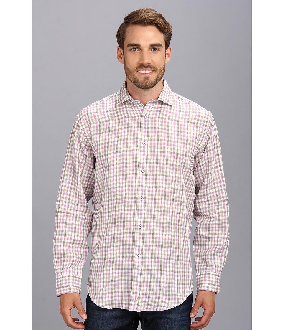 Thomas Dean & Co. - Lilac Plaid Linen Button Down Shirt (Lilac) Men's Long Sleeve Button Up