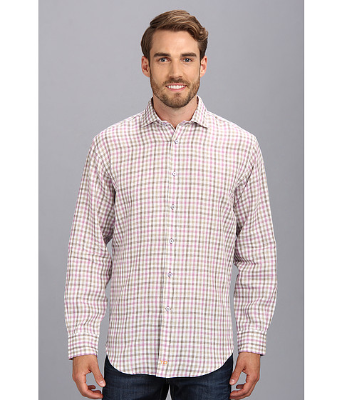 Thomas Dean & Co. - Lilac Plaid Linen Button Down Shirt (Lilac) Men's Long Sleeve Button Up