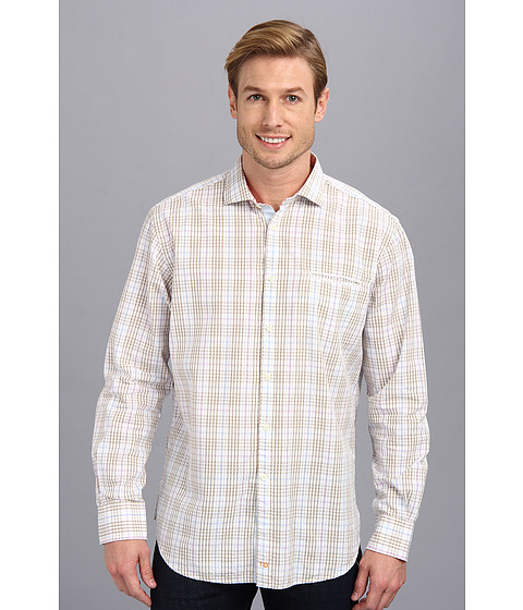 Thomas Dean & Co. - Lilac Seersucker Plaid Button Down L/S Sport Shirt w/ Chest Pocket (Lilac) Men's Long Sleeve Button Up