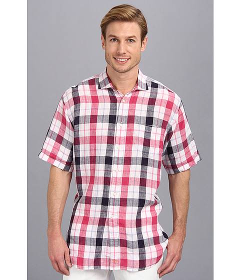 Thomas Dean & Co. - Pink Linen Plaid S/S Button Down Shirt w/ Chest Pocket (Pink) Men's Short Sleeve Button Up