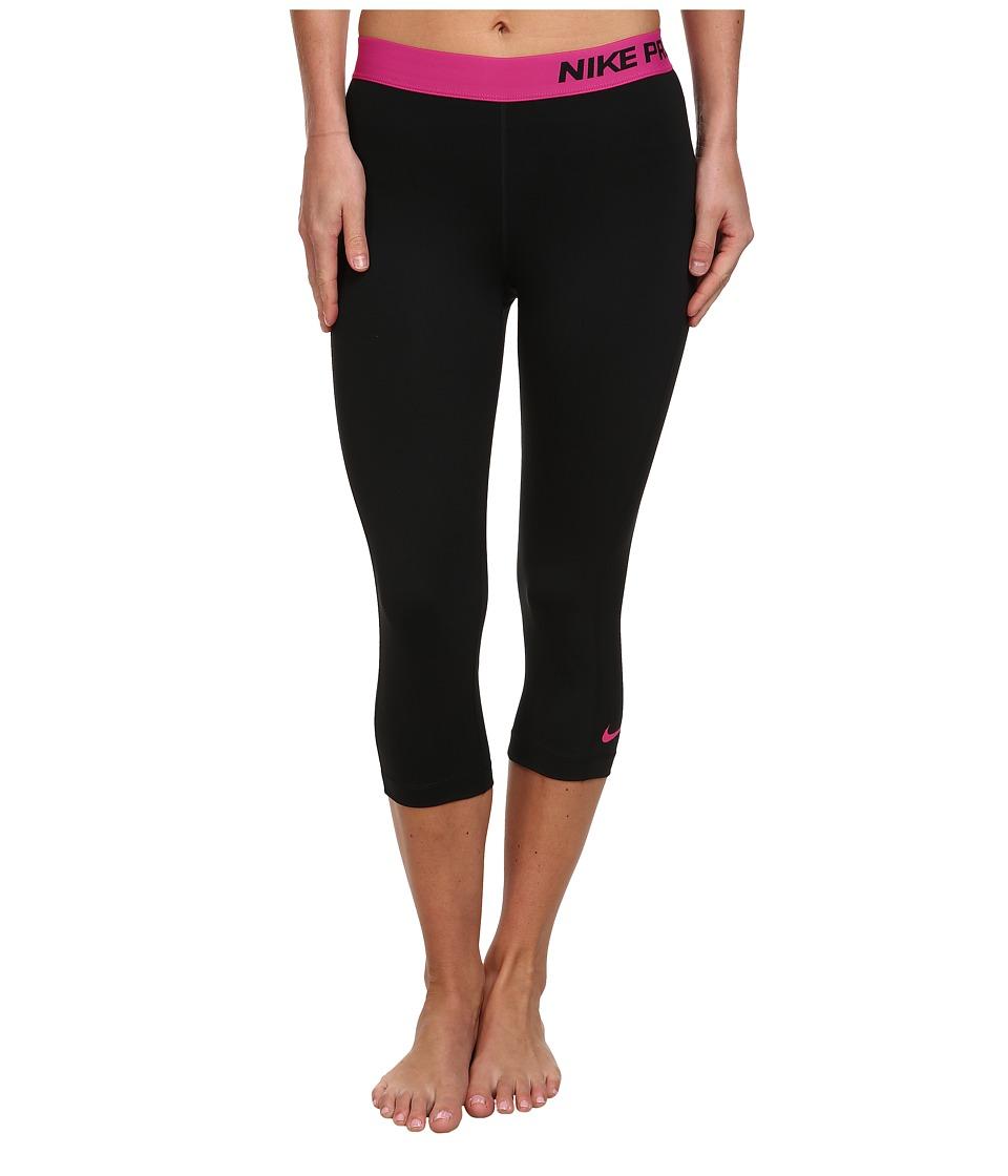 Nike - Pro Capri (Black/Vivid Pink) Women