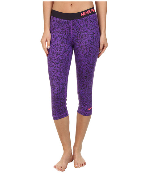 Nike - Pro Mezzo Print Capri (Hyper Grape/Cave Purple/Hyper Punch) Women's Capri