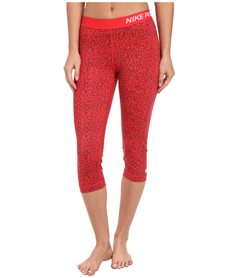 Nike - Pro Mezzo Print Capri (Action Red/Deep Burgundy/White) Women's Capri