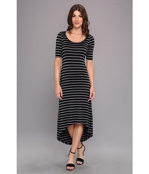 LAmade - Elbow Sleeve Stripe Maxi Dress (Charcoal) Women's Dress