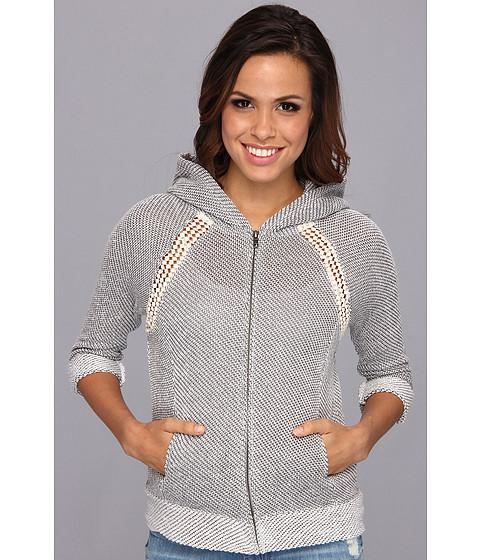Lucky Brand - Crochet Zip Hoodie (Light Charcoal) Women