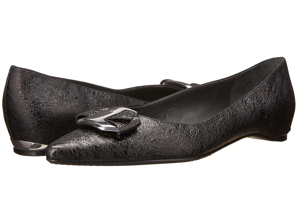 Stuart Weitzman - Lolaflat (Nero Foil Nappa) Women's Dress Flat Shoes