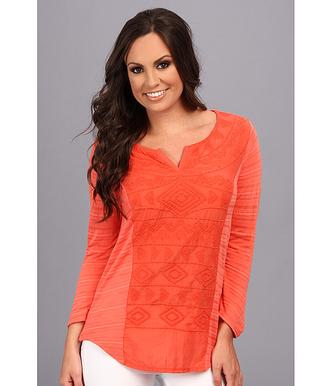 Lucky Brand - Sahara Embroidered Top (Hot Coral) Women
