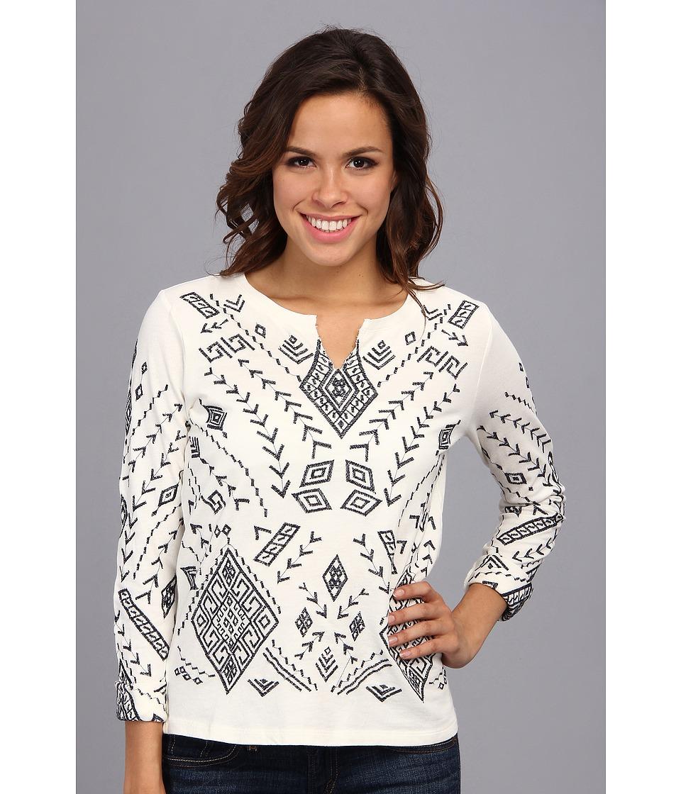 Lucky Brand - Aztec Embroidered Pullover (Nigori) Women's T Shirt