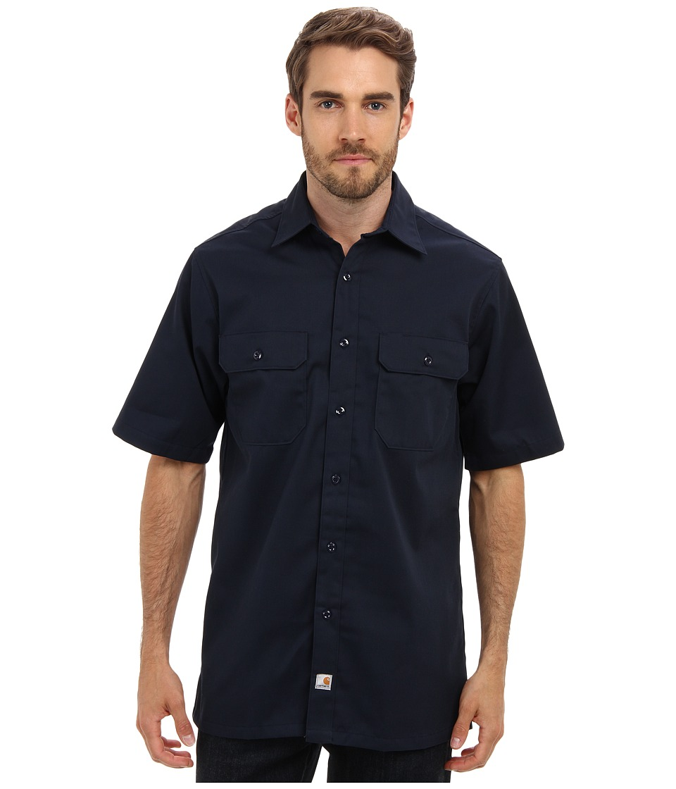 Carhartt - Twill S/S Work Shirt (Navy) Men's Short Sleeve Button Up