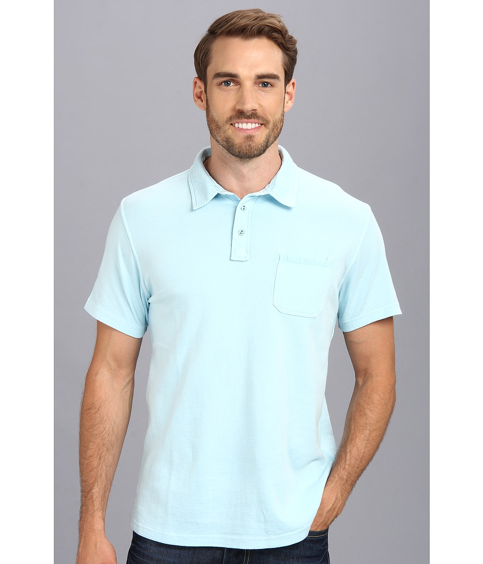 Lucky Brand Double Knit Polo Mens Short Sleeve Pullover (Blue)