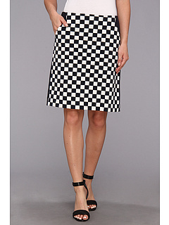 SALE! $22.99 - Save $66 on Anne Klein Check Print A Line Skirt (Midnight Camellia) Apparel - 74.17% OFF $89.00