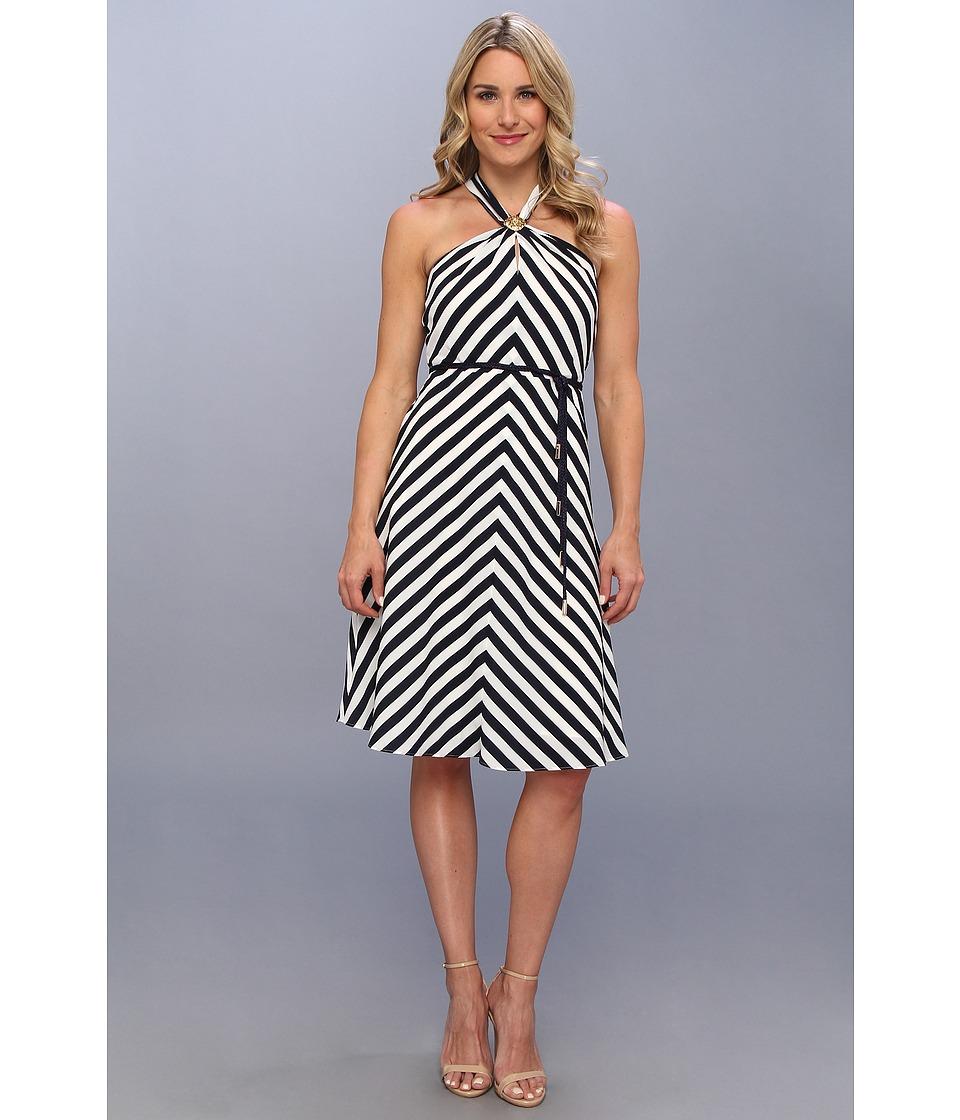 Anne Klein Stripe Halter Neck A Line Dress Womens Dress (Navy)