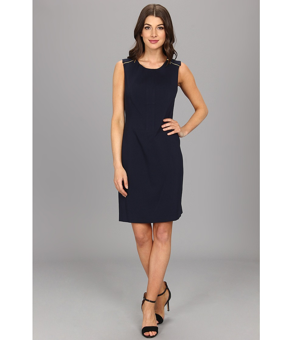 Anne Klein Crew Neck Sheath Dress Womens Dress (Navy)