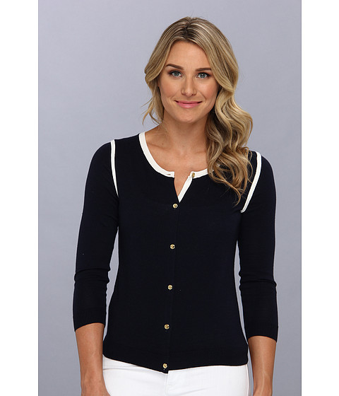 Anne Klein - 3/4 Sleeve Crew Neck Cardigan (Midnight/Camellia) Women's Sweater