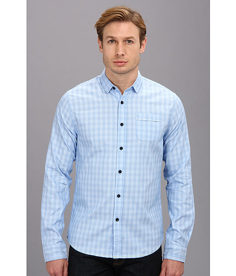 Descendant Of Thieves - Plaid L/S Woven (3 Blues/Ombre Plaid) Men's Long Sleeve Button Up