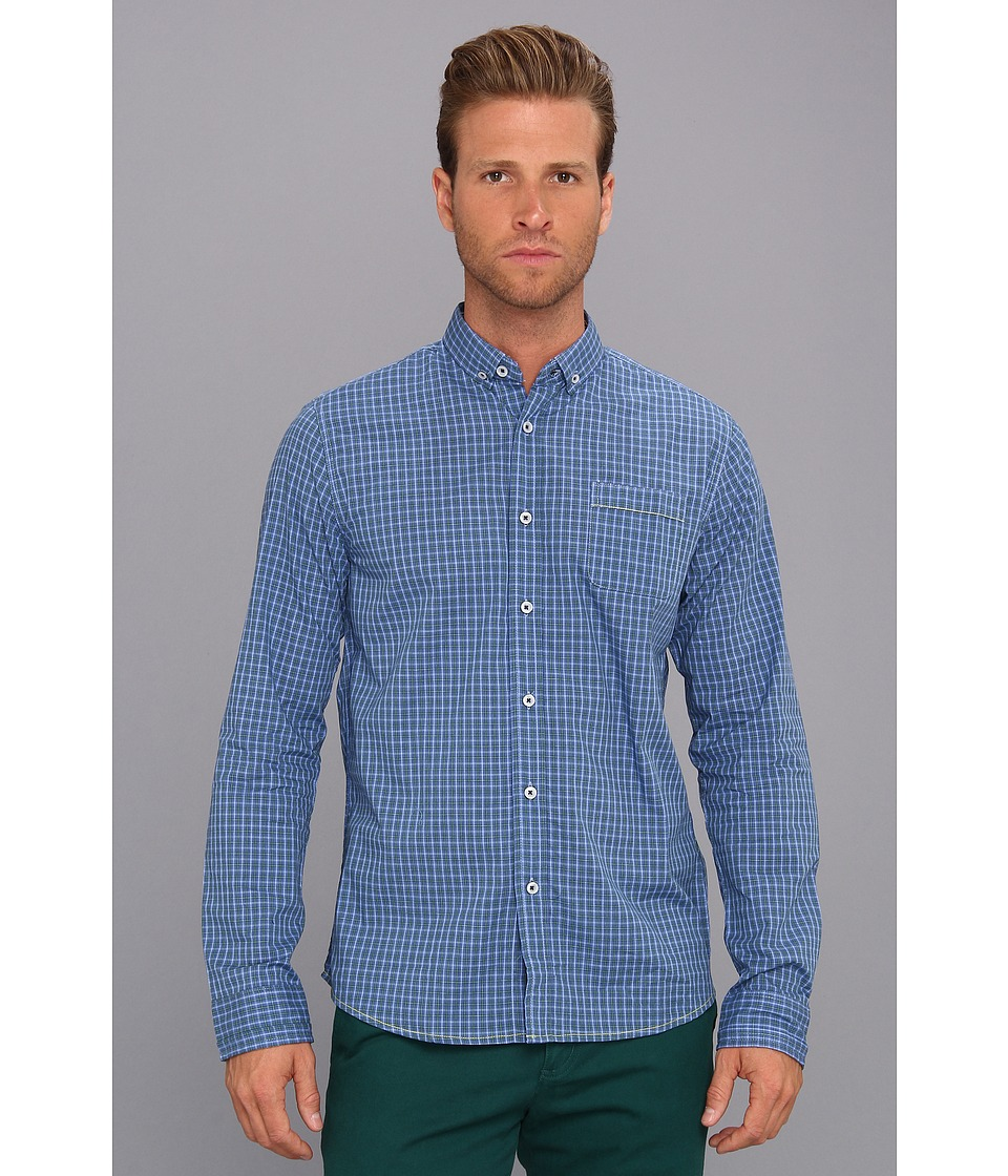 Descendant Of Thieves - Keep in Check L/S Woven (Blue with Green) Men's Long Sleeve Button Up