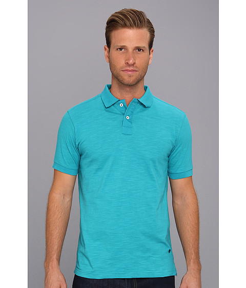 Descendant Of Thieves - Slub Fabric Polo Shirt (Teal) Men's Clothing