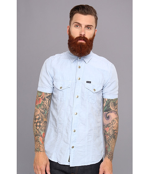 Diesel - Stulip-Sho Shirt (Blue) Men's Short Sleeve Button Up