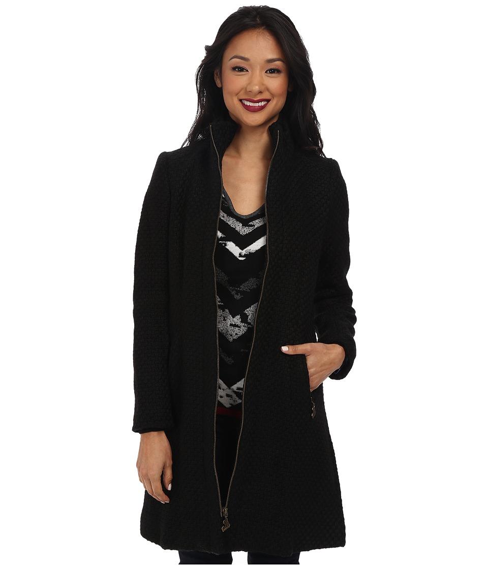 Desigual - Camile Woven Overcoat (Black) Women's Coat