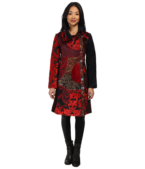 Desigual - The Essential Woven Overcoat Long Sleeve (Burgundy) Women