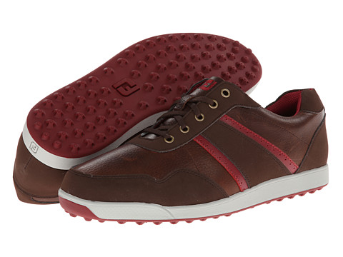 FootJoy - Contour Casual Spikeless (Dark Brown/Crimson) Men's Golf Shoes