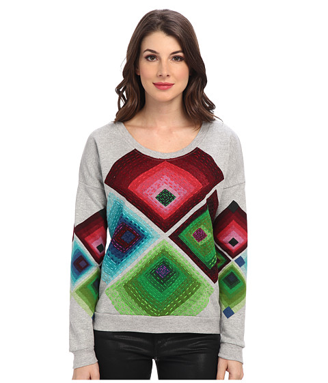 Desigual - Cristina Knitted Sweat-Shirt Long Sleeve (Grey) Women's Sweatshirt
