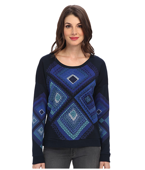 Desigual - Cristina Knitted Sweat-Shirt Long Sleeve (Navy) Women's Sweatshirt