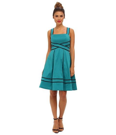Ivy & Blu Maggy Boutique - Sleeveless SQR NK Bandage Waist Fit (Deep Teal) Women's Dress