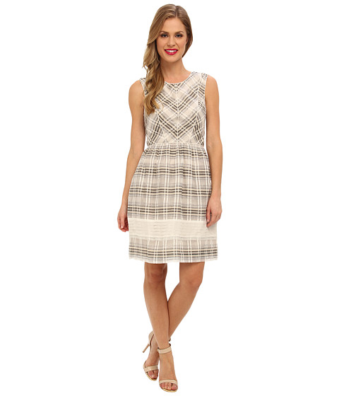 Ivy & Blu Maggy Boutique - Sleeveless Plaid Fit Flare w/ Pip (Neutral Mu) Women's Dress