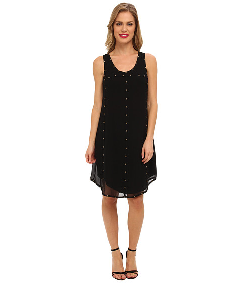 Ivy & Blu Maggy Boutique - Racerback Shift Dress with Studs (Black) Women's Dress