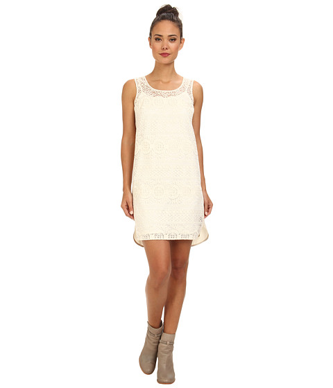 Ivy & Blu Maggy Boutique - Sleeveless Lace Front Solid Back (Ivory) Women's Dress