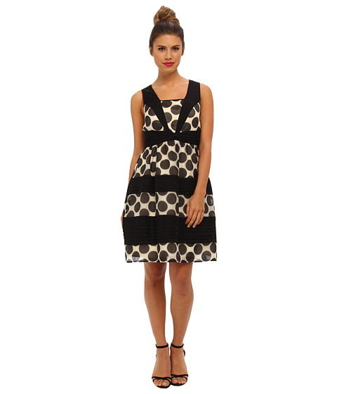 Ivy & Blu Maggy Boutique - Sleeveless Polka Dot Wrap Waist Fit (Ivory/Black) Women's Dress