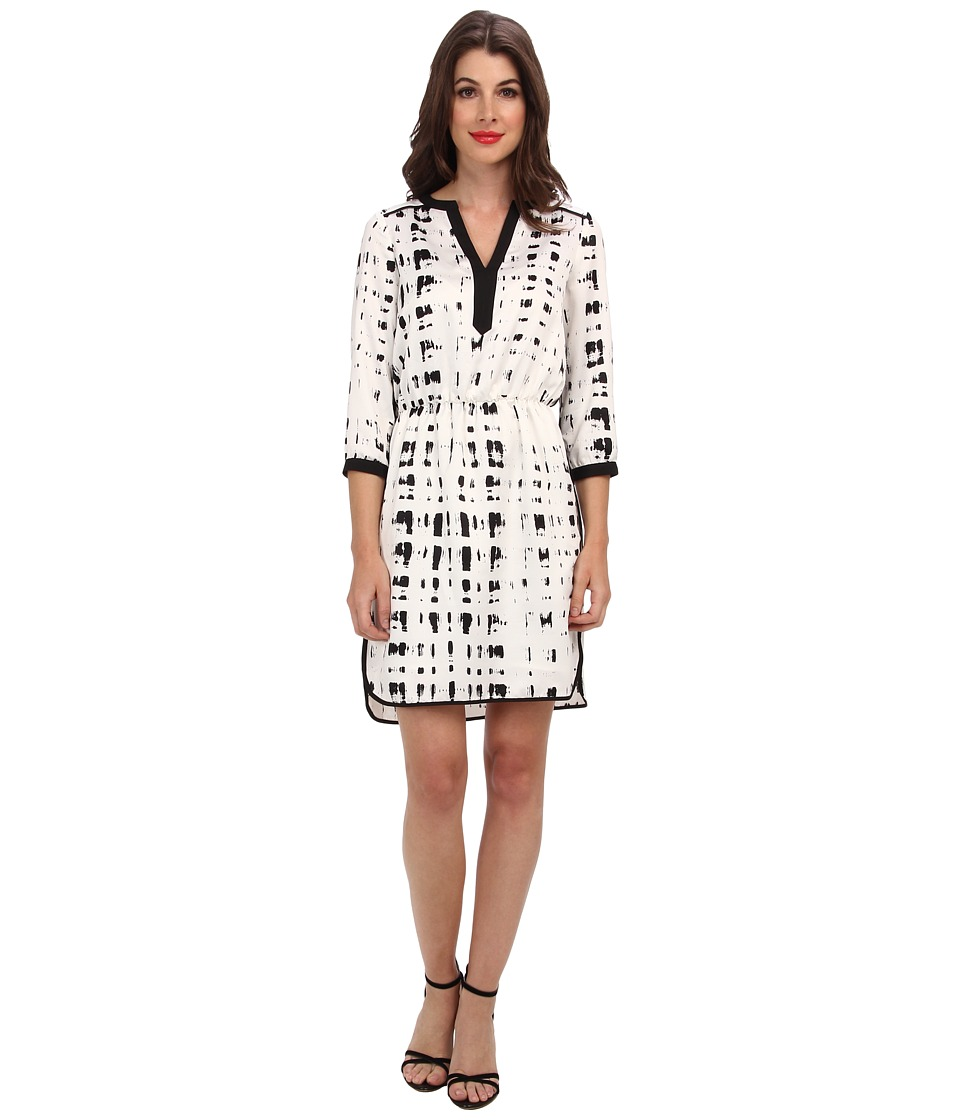 Ivy & Blu Maggy Boutique - 3/4 Sleeve Split NK Blouson WST A (Black/White) Women's Dress