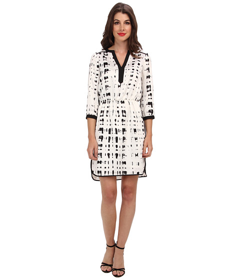 Ivy & Blu Maggy Boutique - 3/4 Sleeve Split NK Blouson WST A (Black/White) Women's Dress