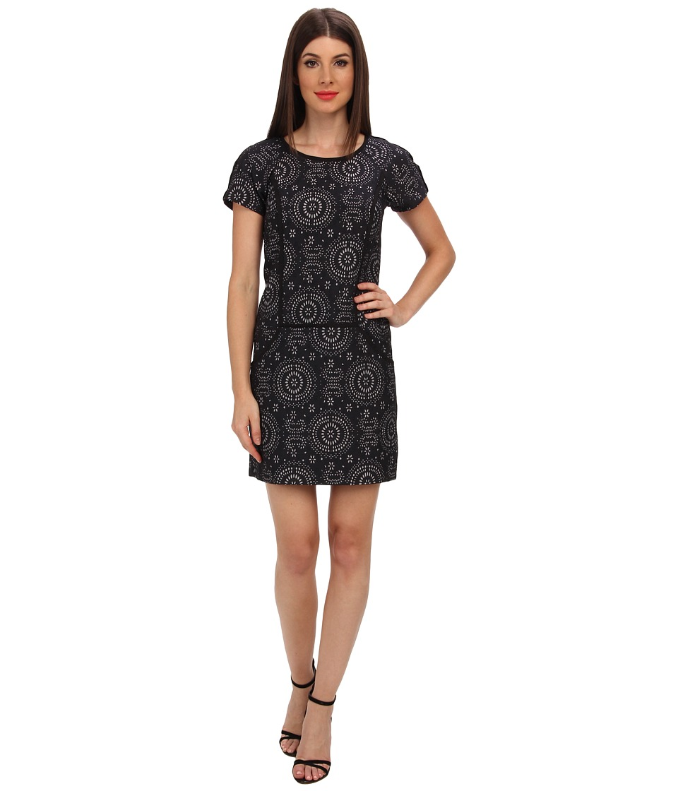Ivy & Blu Maggy Boutique - S/S Floral Laser Cut Jacquard (Ink) Women's Dress