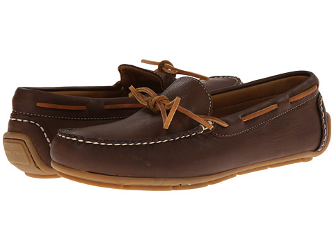 Minnetonka - Tie Driving Moc (Dark Brown Smooth Leather) Men