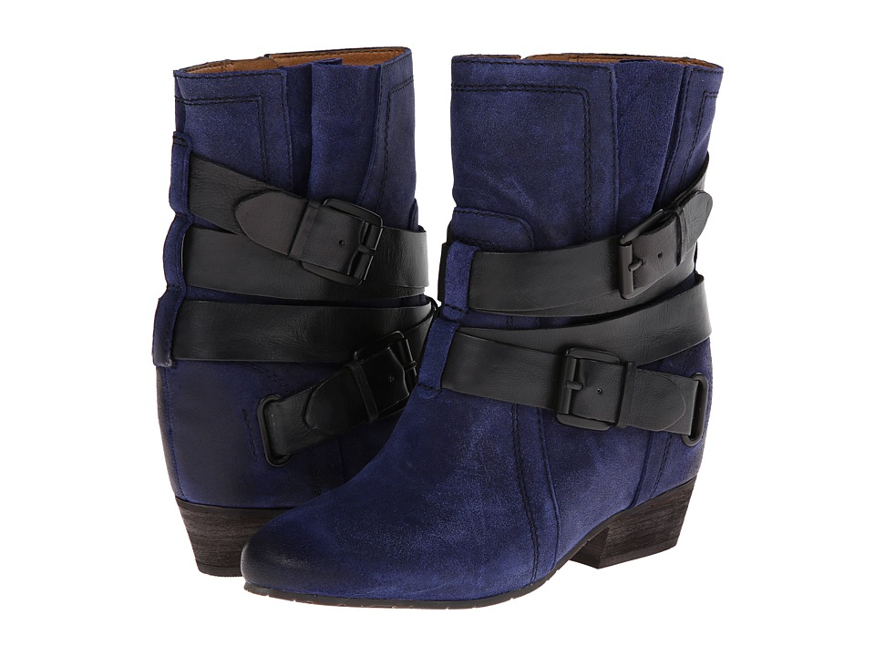 Naya - Fisher Hidden Wedge Boot (Dark Blue Oiled Suede/Black Leather) Women
