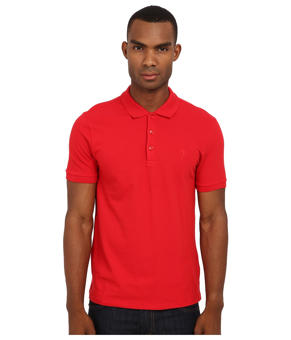 Versace Collection - Logo Embroidery Tone-on-Tone Polo (Red) Men's Short Sleeve Pullover