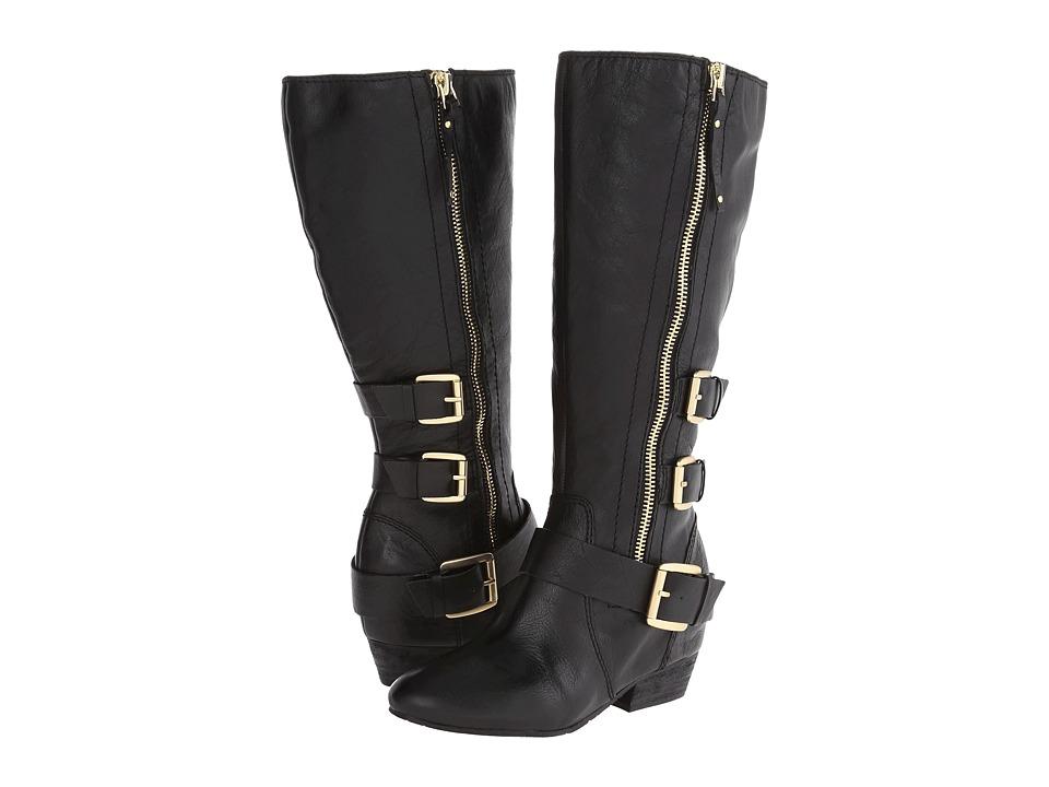 Naya - Frankie Wide Calf (Black Wide Shaft Leather) Women's Zip Boots