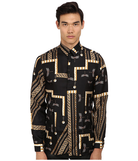 Versace Collection - Dragonfly Chain Print Silk Shirt (Black/Gold) Men's Long Sleeve Button Up