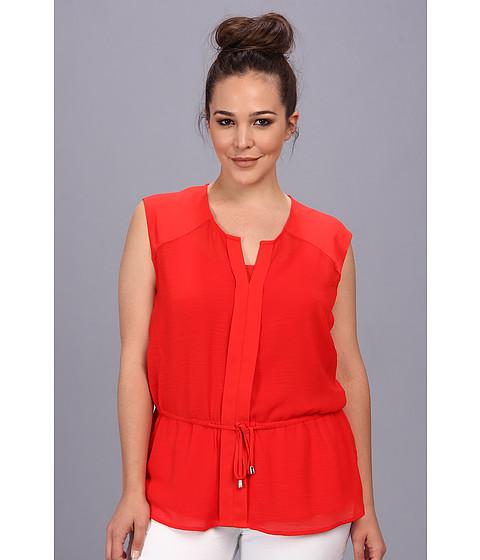 Vince Camuto Plus - Plus Size S/L Tie Front Blouse w/Cami (Flame) Women's Blouse