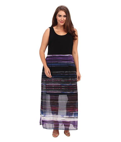 Vince Camuto Plus - Plus Size Chiffon Overlay Sweep Stripe Maxi Dress (Rich Black) Women